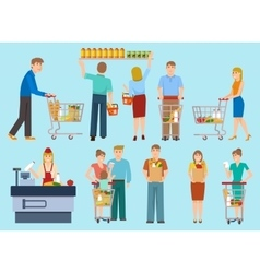People in supermarket collection vector