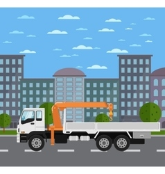Truck mounted crane on road in city vector
