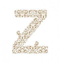 Floral letter z ornament font vector