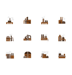 objects of industry simple flat style icons vector image