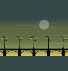 Street lamp lined on bridge landscape silhouettes vector
