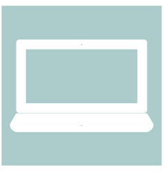 Laptop the white color icon vector