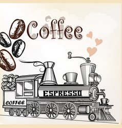 Coffee vintage poster with coffee grains and train vector
