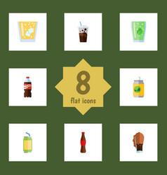 Flat icon beverage set of carbonated soda bottle vector