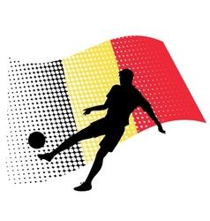 belgium soccer player against national flag vector image