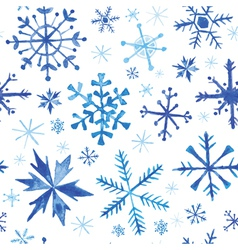 Seamless winter background - snowflakes watercolor vector
