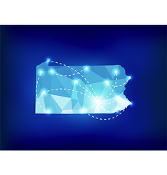 Pennsylvania state map polygonal with spot lights vector