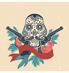 Day of the dead card with vintage skull flowers vector