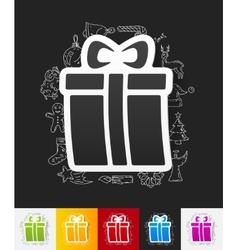 Gift box paper sticker with hand drawn elements vector