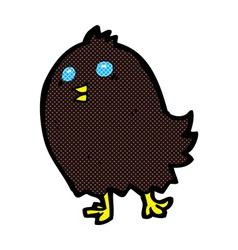 Comic cartoon spooky black bird vector