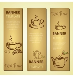 Banners with teapot and cup of tea tea time vector image