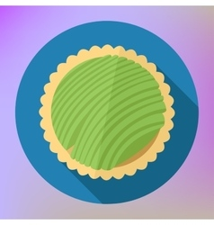 Kiwi fruit cupcake top view flat vector