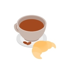 Coffee cup with a croissant icon vector