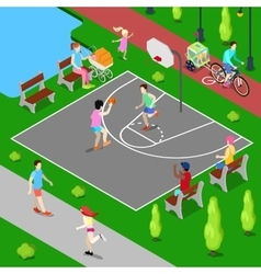 Isometric people playing basketball in the park vector