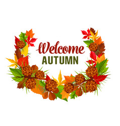 Autumn time hello fall greeting poster vector