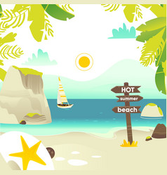 Beach banner with rocks yacht and wooden sign vector