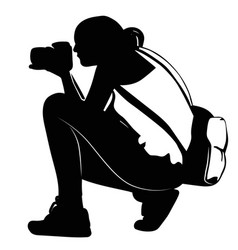 black silhouette of a girl photographing sitting vector image vector image