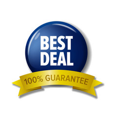 blue sign best deal 100 guarantee vector image vector image