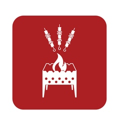 Brazier grill with kebab icon vector