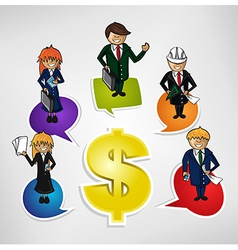 Business teamwork money social people vector image vector image