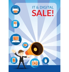 Businessman and Megaphone Announce Digital Sale vector image vector image
