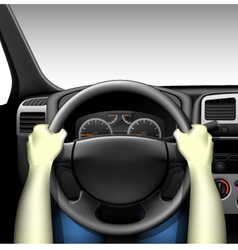 Car driver - car interior with dashboard vector image