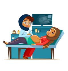Cartoon arab ultrasound pregnancy screen vector