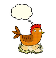 Cartoon hen on eggs with thought bubble vector
