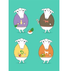 Cartoon white sheeps with colorful pullovers vector image