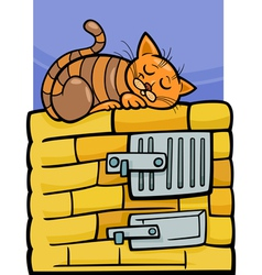 cat on stove cartoon vector image vector image
