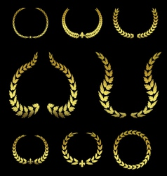 Collection of Golden Laurel Leaves vol 2 vector image vector image