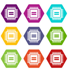 electronic circuit board icon set color hexahedron vector image