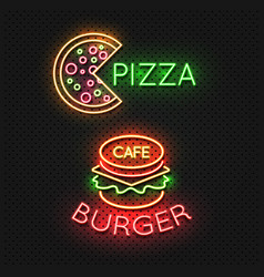 fast food cafe neon signs - pizza and burger neon vector image vector image
