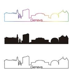 Geneva skyline linear style with rainbow vector image