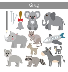 Gray learn the color education set of primary vector