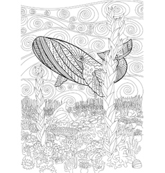 Hand drawn humpback whale in the waves vector image