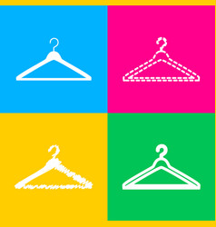 Hanger sign four styles of icon on vector