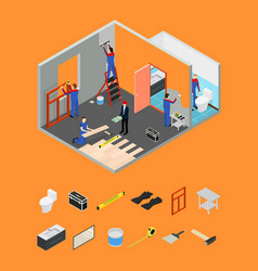 Interior renovation room or house and parts vector