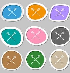 Lacrosse sticks crossed symbols multicolored paper vector