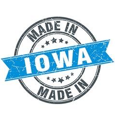 Made in iowa blue round vintage stamp vector