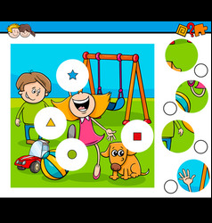 Match pieces puzzle with kids on playground vector