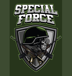 Military skull wearing helmet and crossing rifles vector
