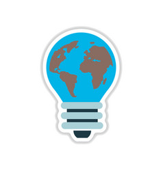 Paper sticker on white background bulb eart vector