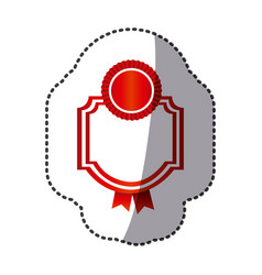 Red emblem with symbols inside icon vector