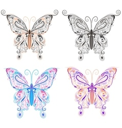 Set butterflies ornamental style vector image vector image