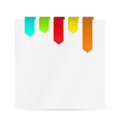 set of color ribbons or bookmarks with blank paper vector image