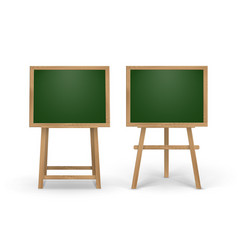 Set of wooden easels with square school boards vector