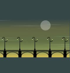 street lamp lined on bridge landscape silhouettes vector image
