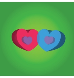 two hearts on a green background vector image vector image