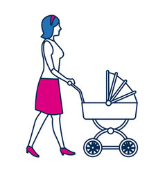 Walking mother with baby carriage isolated on vector
